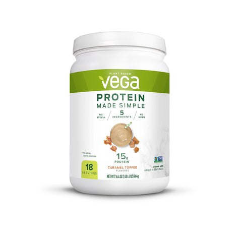 Vega Protein Made Simple Plant Based Powder Caramel Toffee (18 servings)