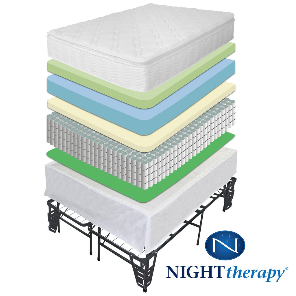 "Night Therapy iCoil 10"" Pillowtop Spring Mattress and SmartBase Bed Frame Set, Queen"