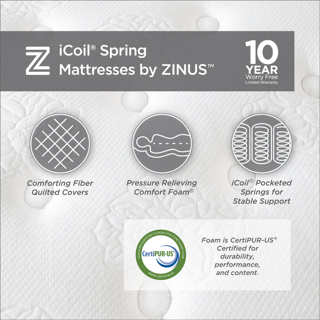 "Zinus Night Therapy 14"" Fusion Gel Memory Foam Hybrid Queen Mattress"