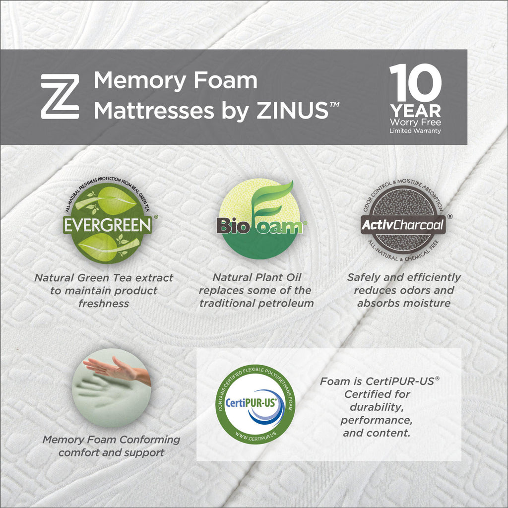"Zinus Night Therapy Gel-Infused Memory Foam 12"" Elite Full Mattress & BiFold Box Spring Set"
