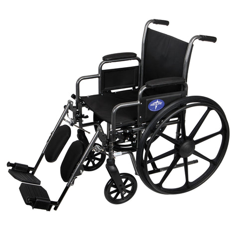 "Medline K3 Basic Wheelchair with Desk Length, Removable Armrests and Elevating Leg Rests (16"" x 16"" Seat)"