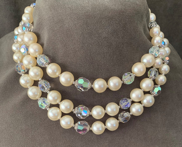 3-Strand Faux Pearl and Crystal Necklace