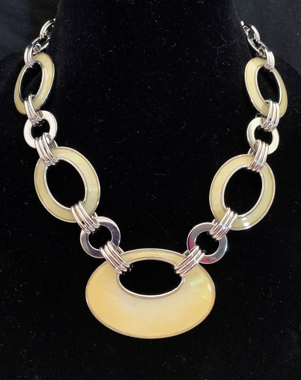 Lia Sophia Silver and Yellow Enamel Necklace