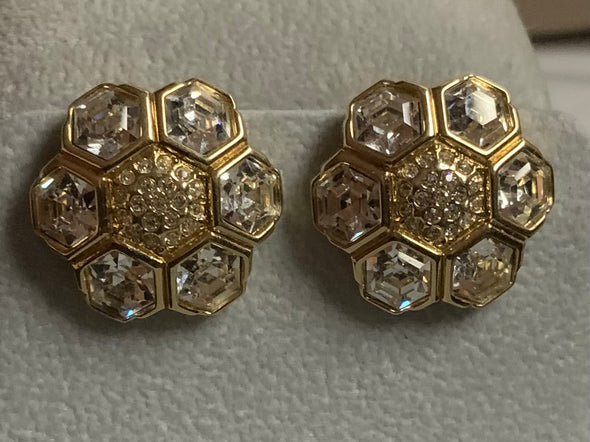 White Crystal Clip on Earrings