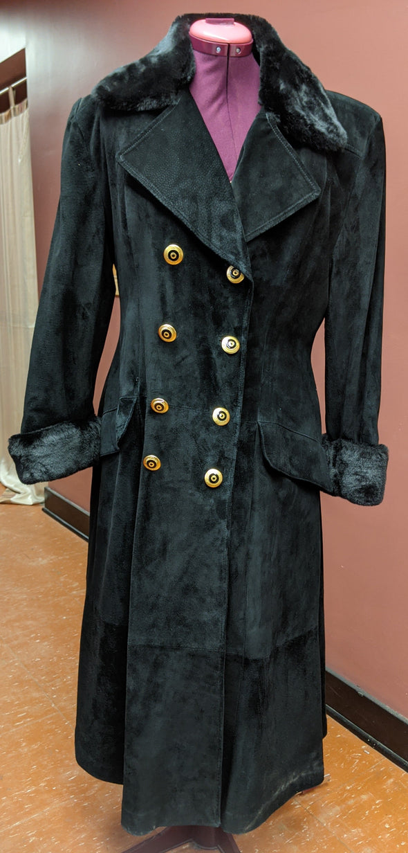 Danier Full Length Leather Suede with Fur Cuffs Coat (L)