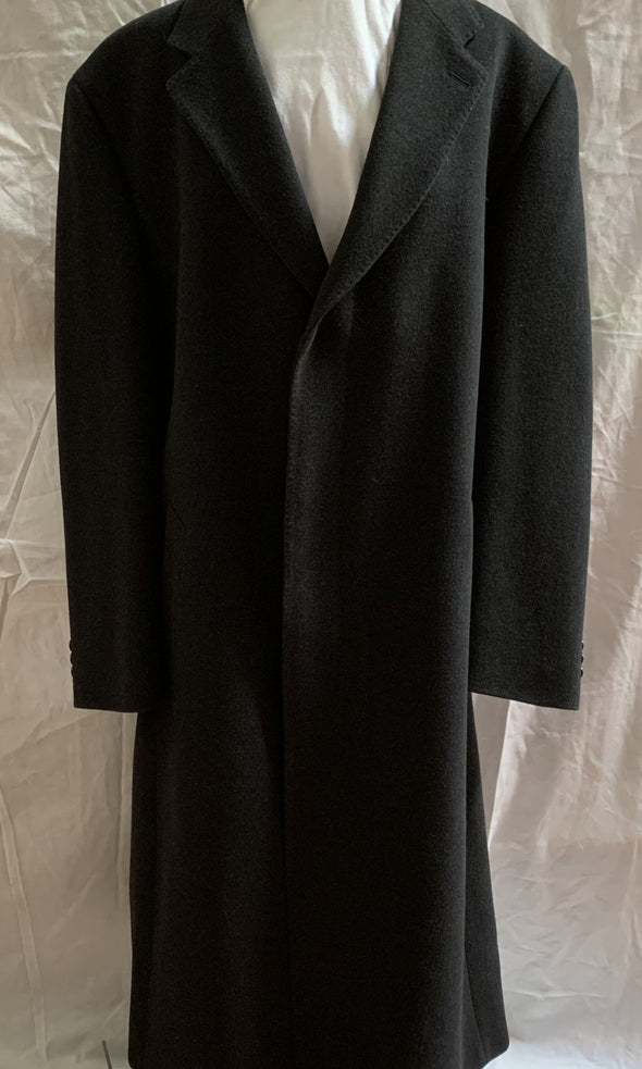 Mens Tessuto Italiano Long Black Coat (M)