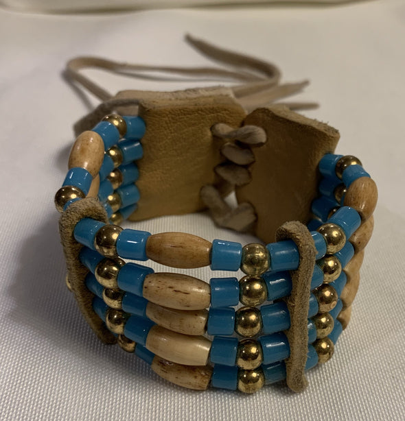 Deerskin and Beaded Bracelet