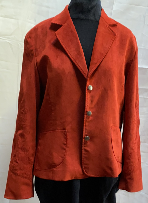 Red suede type lined woman's jacket size 14