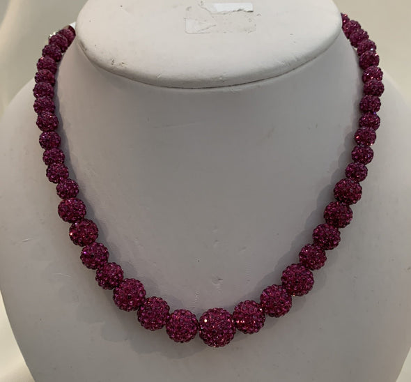 Fuschia Sparkly Beaded Necklace