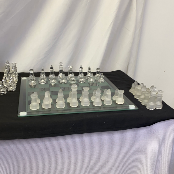 Glass Backgammon/Chess Set