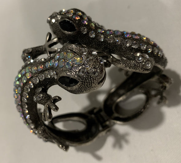 Black and Rhinestone Lizard Bracelet