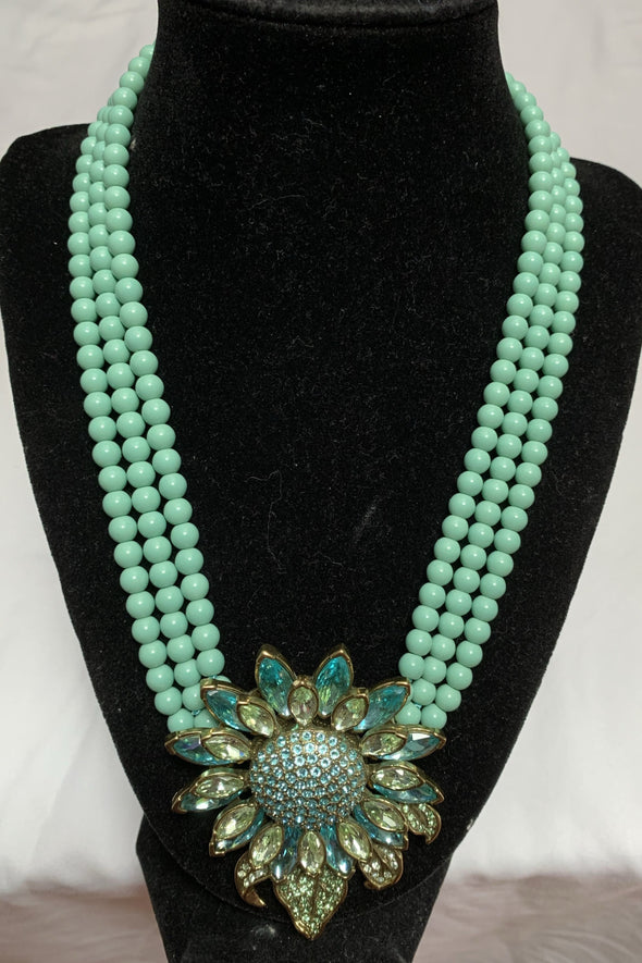 Triple Strand Necklace signed by Heidi Daus with Swarski crystal daisy