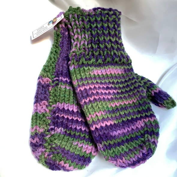 Purple Knitted Hat and mittens