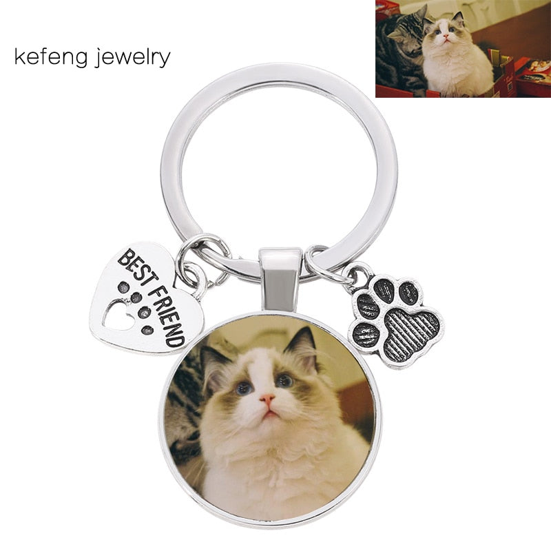 Personalized Custom DIY Cat Pet Photo Keychain BEST FRIEND Heart Dog Paw Pendant Keychain Man and Girl Favorite Gift Souvenir