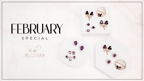 WIrdora February Birthstone Amethyst Hijab Accessories Malaysia