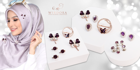 WIrdora February Birthstone Hijab Accessories