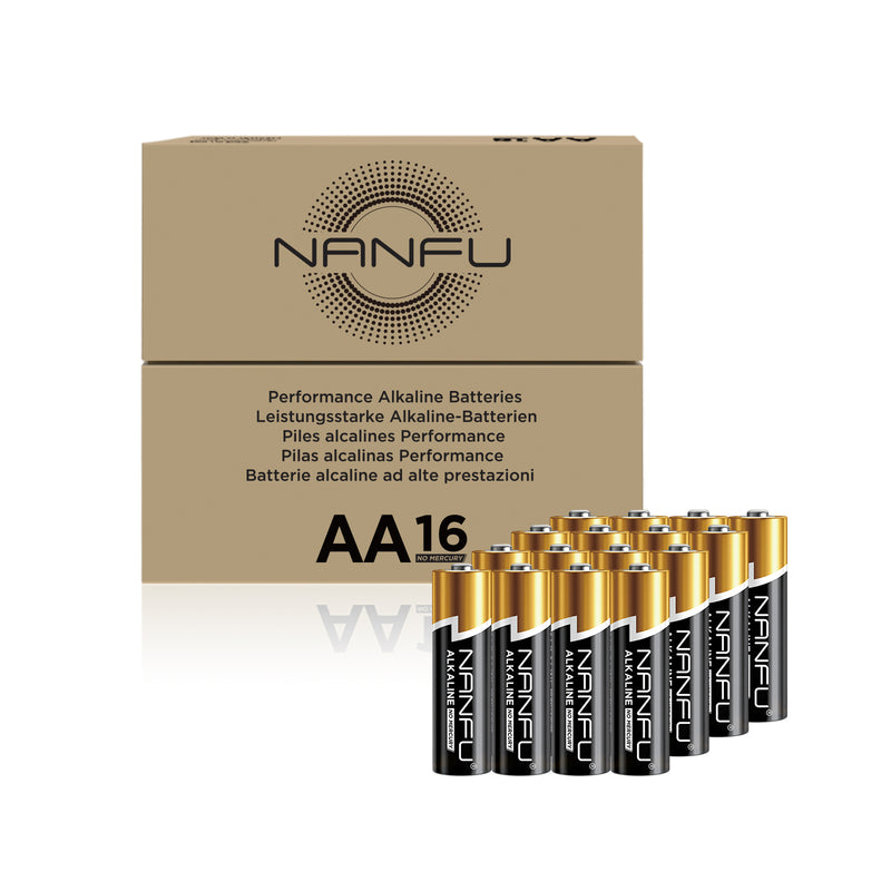 NANFU AA Batteries 16-Count Pack, Double A Alkaline Batteries