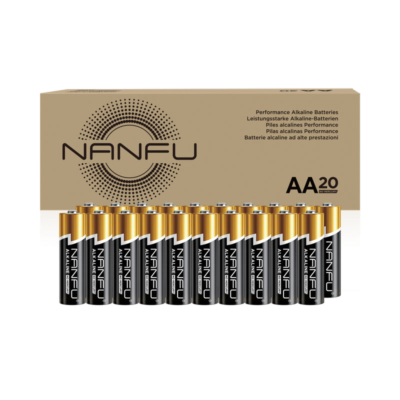 NANFU AA Batteries 20-Count Pack, Double A Alkaline Batteries