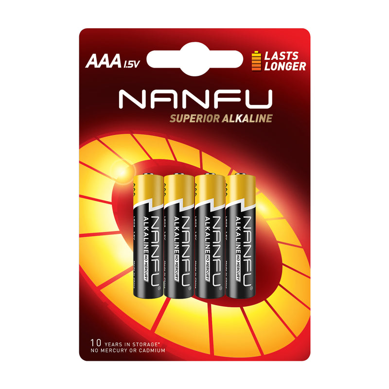 NANFU AAA Batteries 4-Count Blister Card, Triple A Alkaline Batteries
