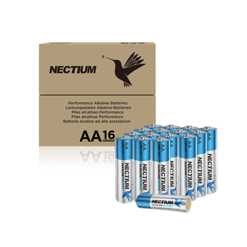 NECTIUM AA Batteries 16-Count Blister Card, Double A Alkaline Batteries, Pure Gold Bottom Batteries ideally suited for IoT Smart Devices