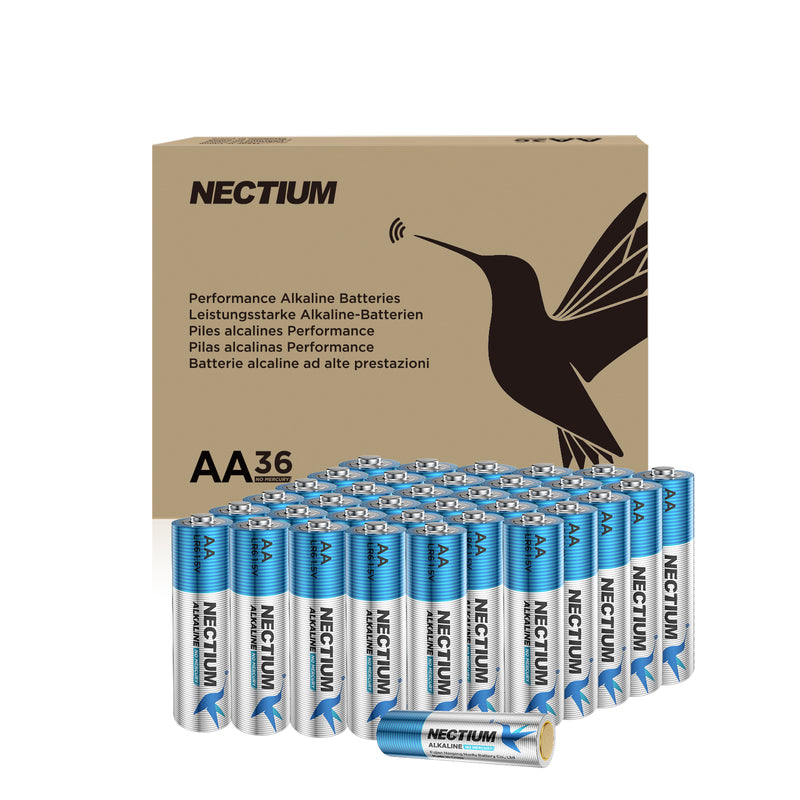 NECTIUM AA Batteries 36-Count Blister Card, Double A Alkaline Batteries, Pure Gold Bottom Batteries ideally suited for IoT Smart Devices