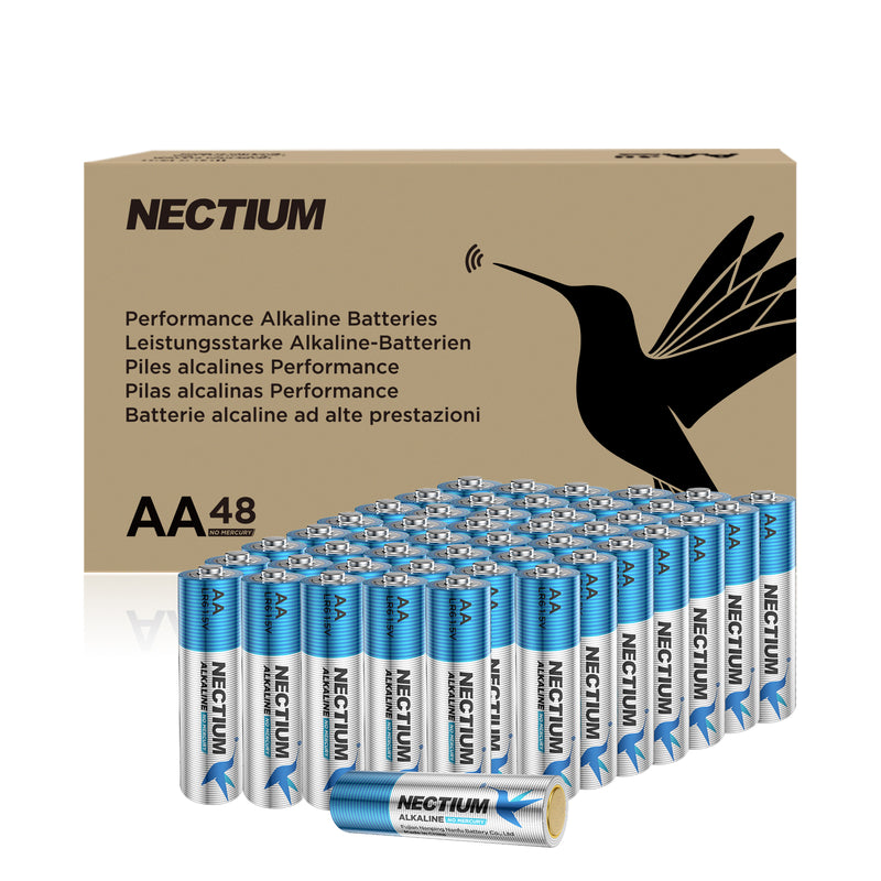 NECTIUM AA Batteries 48-Count Blister Card, Double A Alkaline Batteries, Pure Gold Bottom Batteries ideally suited for IoT Smart Devices
