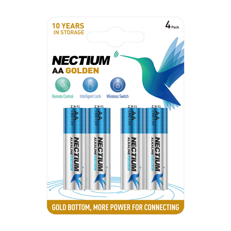 NECTIUM AA Batteries 4-Count Blister Card, Double A Alkaline Batteries, Pure Gold Bottom Batteries ideally suited for IoT Smart Devices