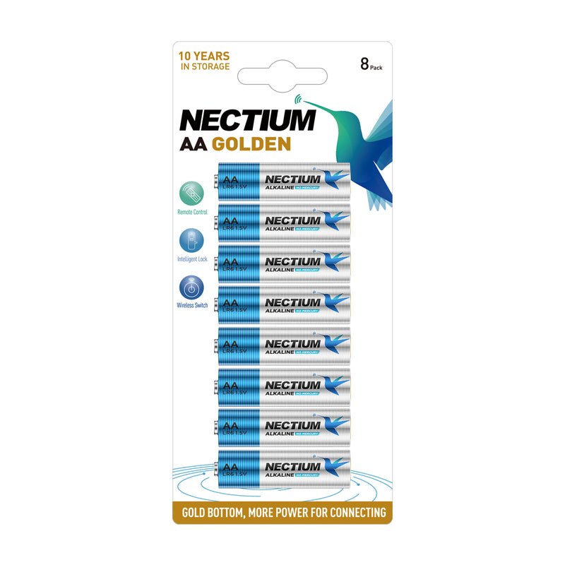 NECTIUM AA Batteries 8-Count Blister Card, Double A Alkaline Batteries, Pure Gold Bottom Batteries ideally suited for IoT Smart Devices