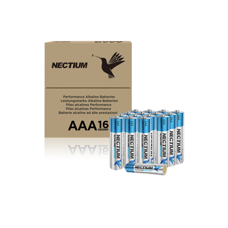 NECTIUM AAA Batteries 16-Count Pack, Triple A Alkaline Batteries, Pure Gold Bottom Batteries ideally suited for IoT Smart Devices