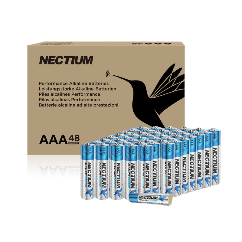 NECTIUM AAA Batteries 48-Count Pack, Triple A Alkaline Batteries, Pure Gold Bottom Batteries ideally suited for IoT Smart Devices