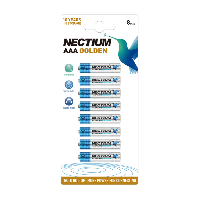 NECTIUM AAA Batteries 8-Count Blister Card, Triple A Alkaline Batteries, Pure Gold Bottom Batteries ideally suited for IoT Smart Devices