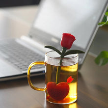 Load image into Gallery viewer, Red or yellow rose heart tea infuser strainer