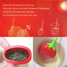 Load image into Gallery viewer, 1pc Cute Silicone Strawberry Tea Leaf Strainer Loose Herbal Spice Infuser Filter Diffuser Creative Bar Tools Kitchen Accessories