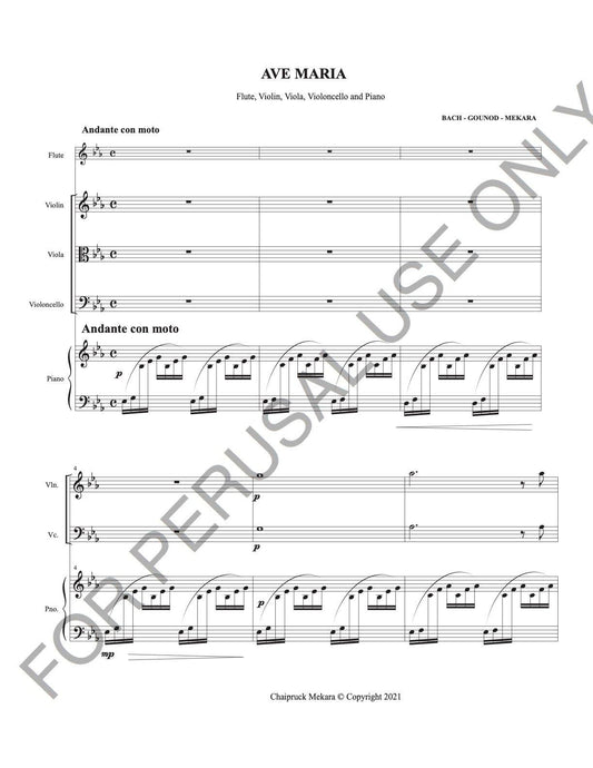 Ave Maria by J.S. Bach and Gounod for Various combination of instrumentation Sheet music PDF Transcribed by Chaipruck Mekara - ChaipruckMekara