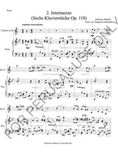 画像をギャラリービューアに読み込む, Intermezzo Op. 118 no. 2 Brahms sheet music for Bb Clarinet and Piano - ChaipruckMekara