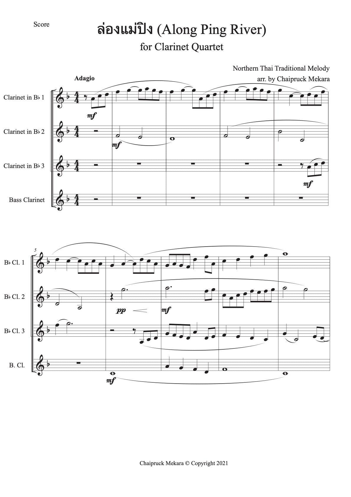 Along Ping River for Clarinet Quartet (Score + Parts) - ChaipruckMekara