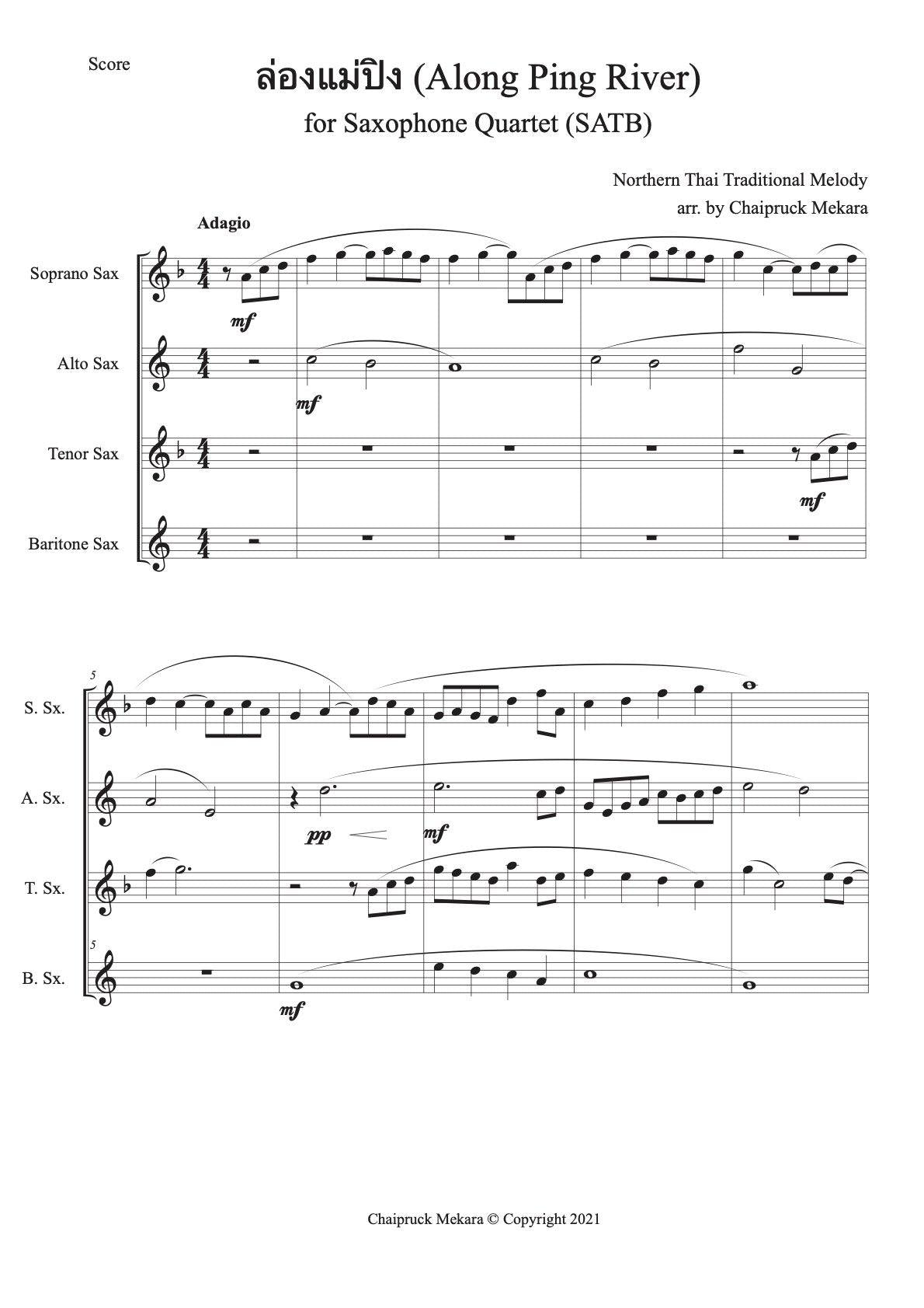 Along Ping River (ล่องแม่ปิง) for Saxophone Quartet- SATB (Score+Parts) - ChaipruckMekara