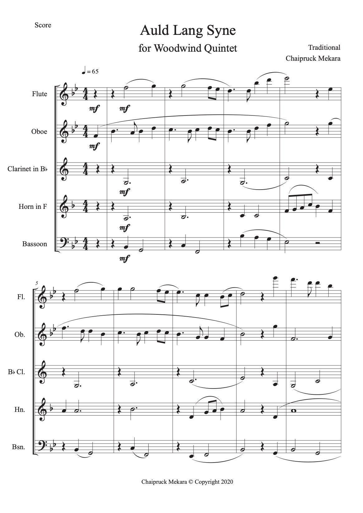 Auld Lang Syne Woodwind Quintet Arrangement (Score + Parts) - ChaipruckMekara