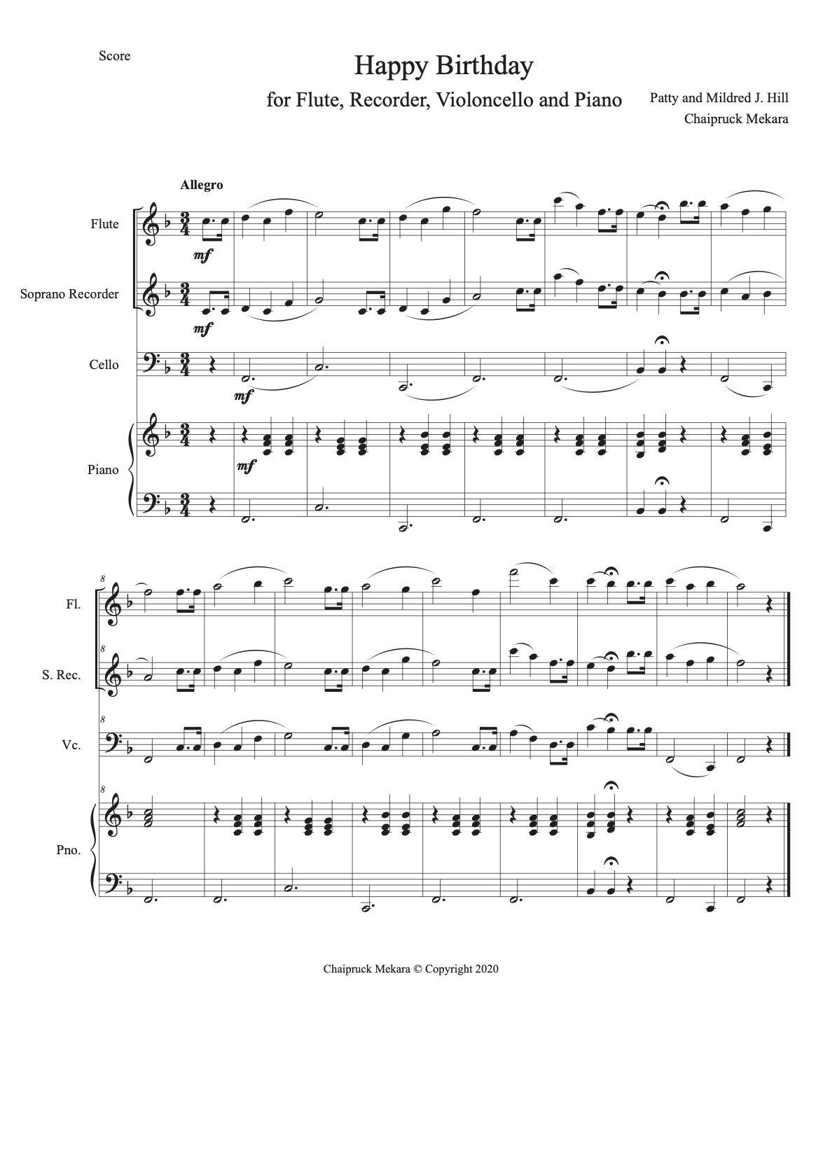 Happy Birthday to You - arrangement Flute, Recorder, Violoncello and Piano (score+part) - ChaipruckMekara