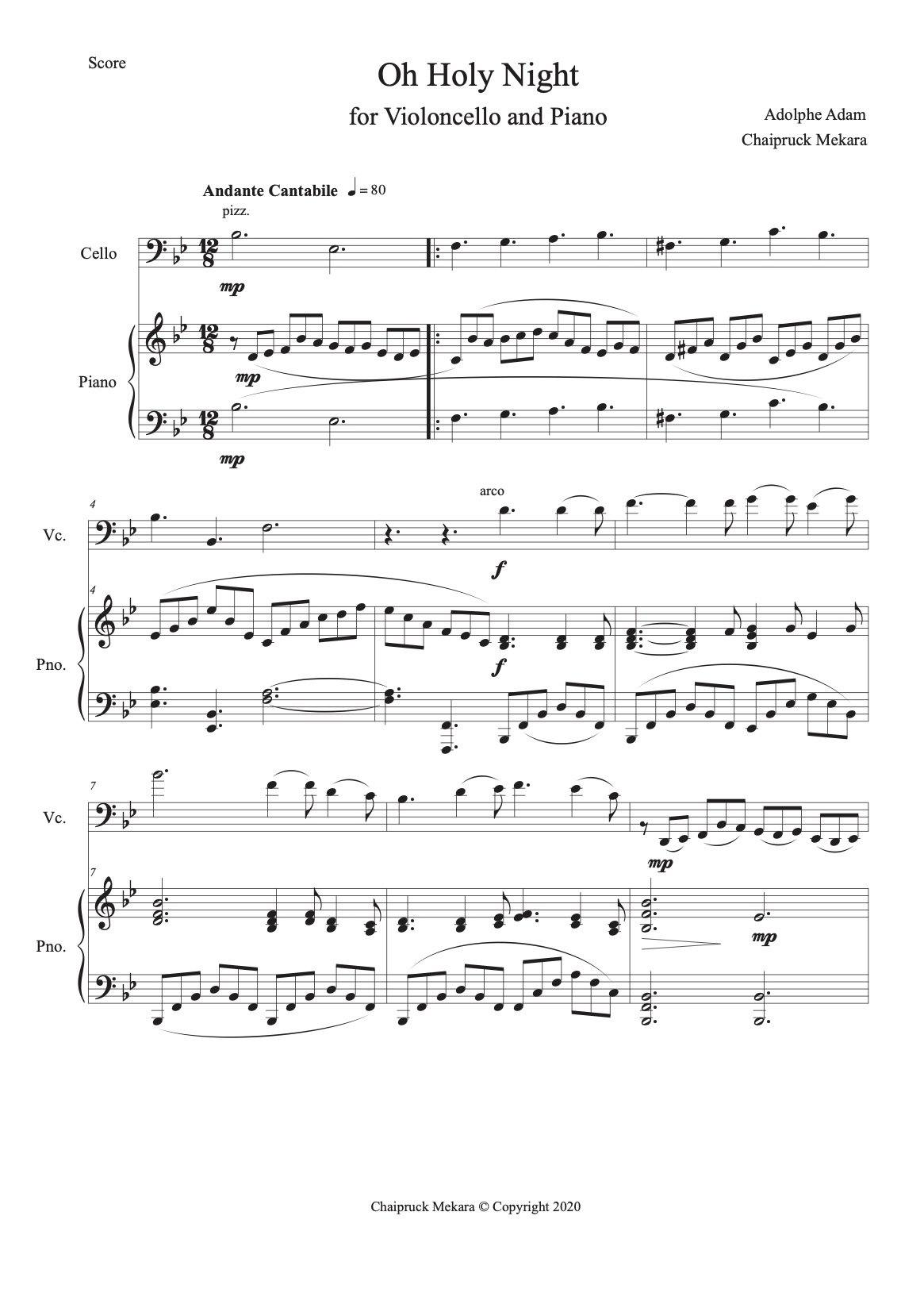 Oh Holy Night for Violoncello and Piano (score+part) - ChaipruckMekara