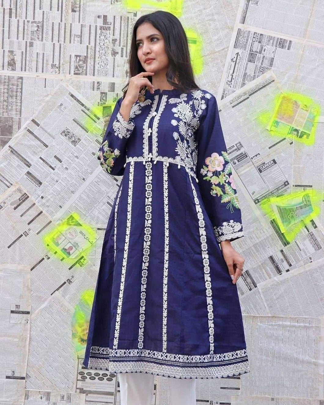 Self jacquard embroidered long frock