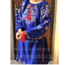 Load image into Gallery viewer, Embroidered Peplum blue
