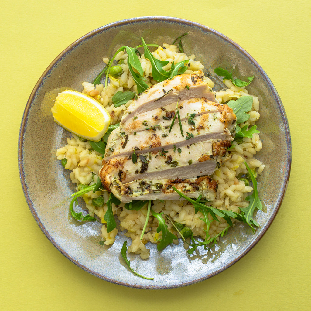 Chicken with Pea Risotto