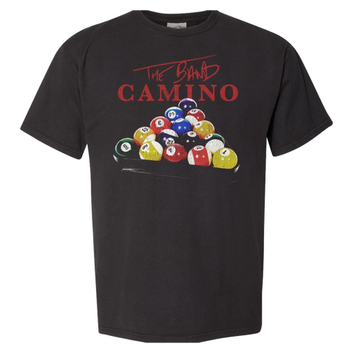 unisex black tee with racked billiard balls and the band camino logo in red