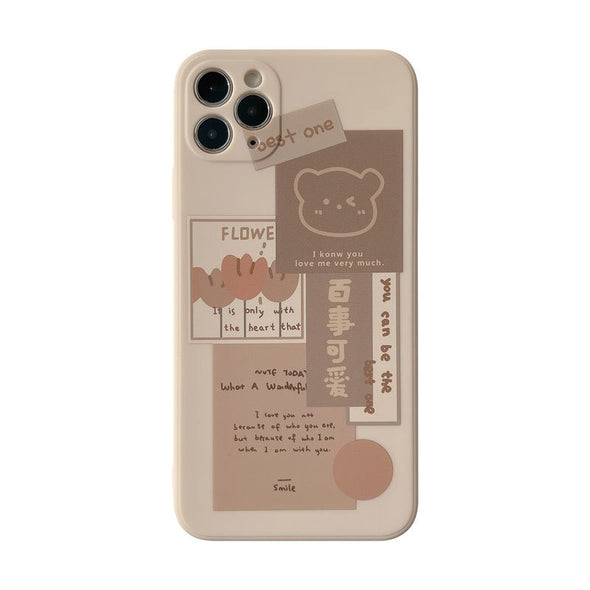 Retro chocolate smile sweet bear art Phone Case For iPhone