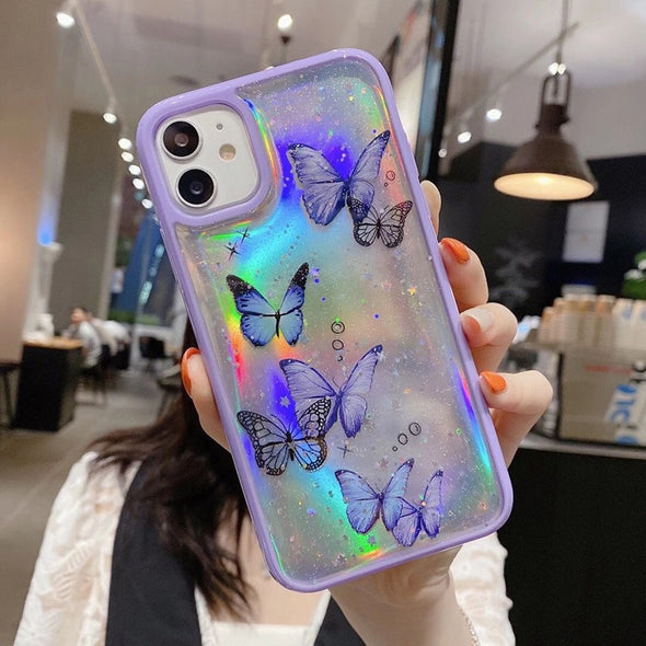 Bling Glitter Butterfly Phone Case For iPhone Clear Case Laser Soft Silicon Cover