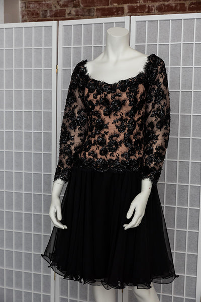 1980's Lace and Sequin Prom Dress