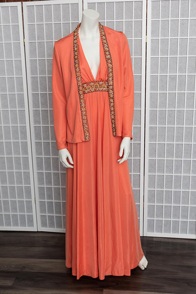 1970's Peach Evening Gown & Jacket