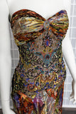 2000's Multicolor Beaded Evening Gown