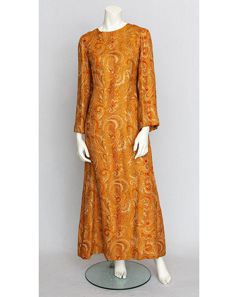 1970's Gold Brocade Maxi Dress